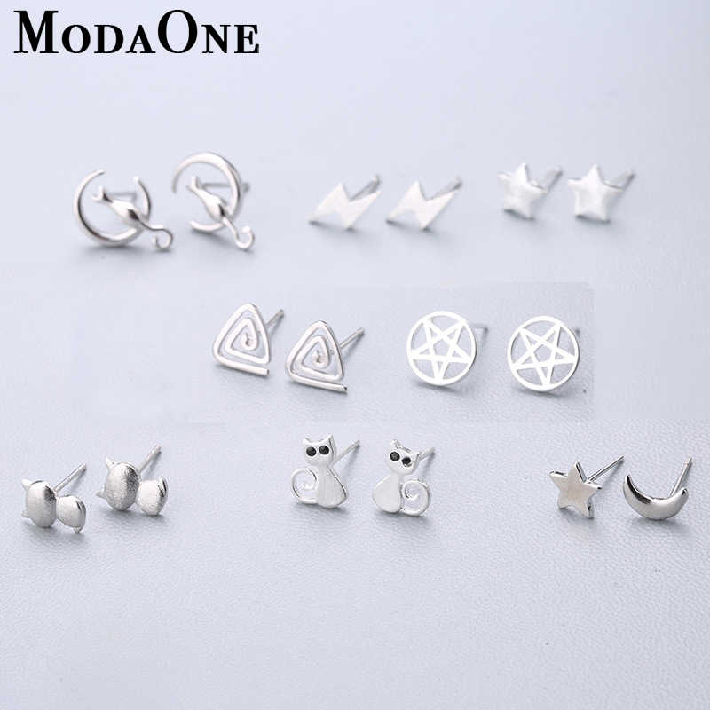 ModaOne Real 925 Sterling Silver Jewelry For Women Star Moon Cat Earring Stud Small Stud Earring For Girls Dropshipping