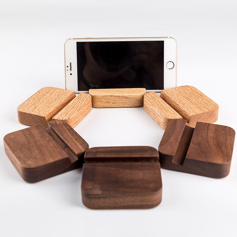 Desktop Mobile Phone Stand Office Holder Solid Wood . Red Oak, Black Walnut (Tilt Angle: 60)