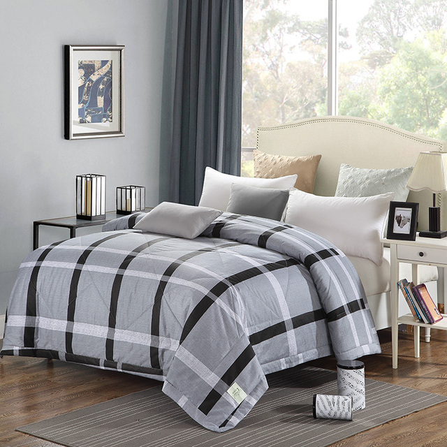 Home Textiles White Dark Gray Large Lattice Cotton Fabric Summer Washable Blankets Air Conditioning Thin Duvets
