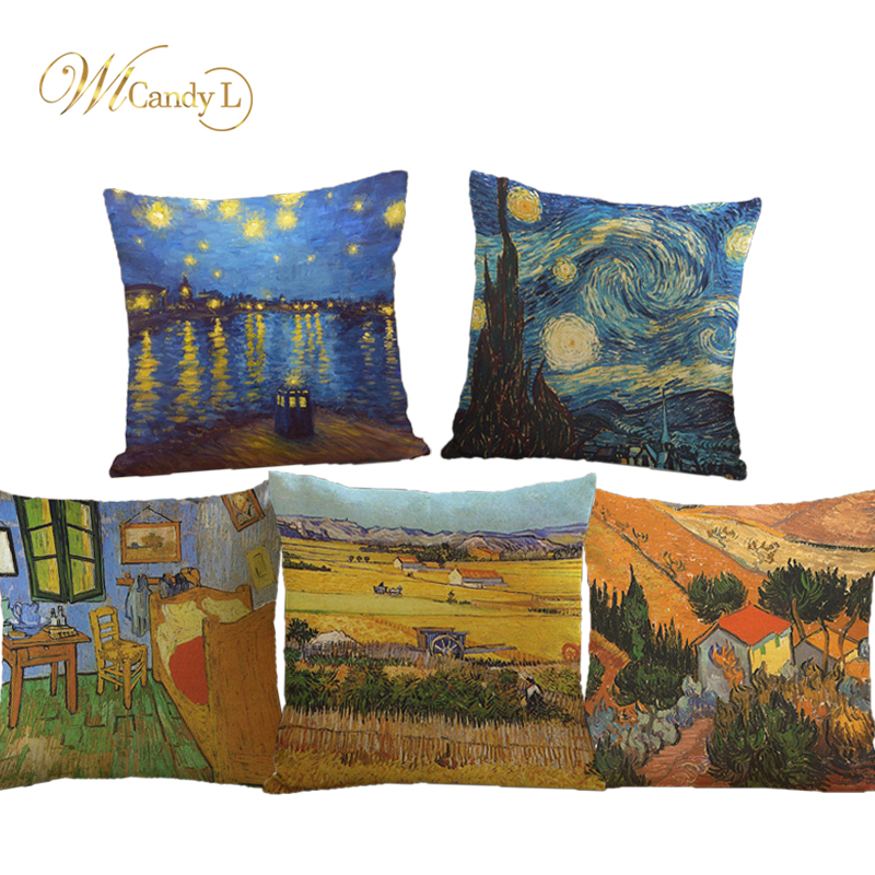 WL Candy L Van Gogh Oil Painting Style Linen Cushion Cover