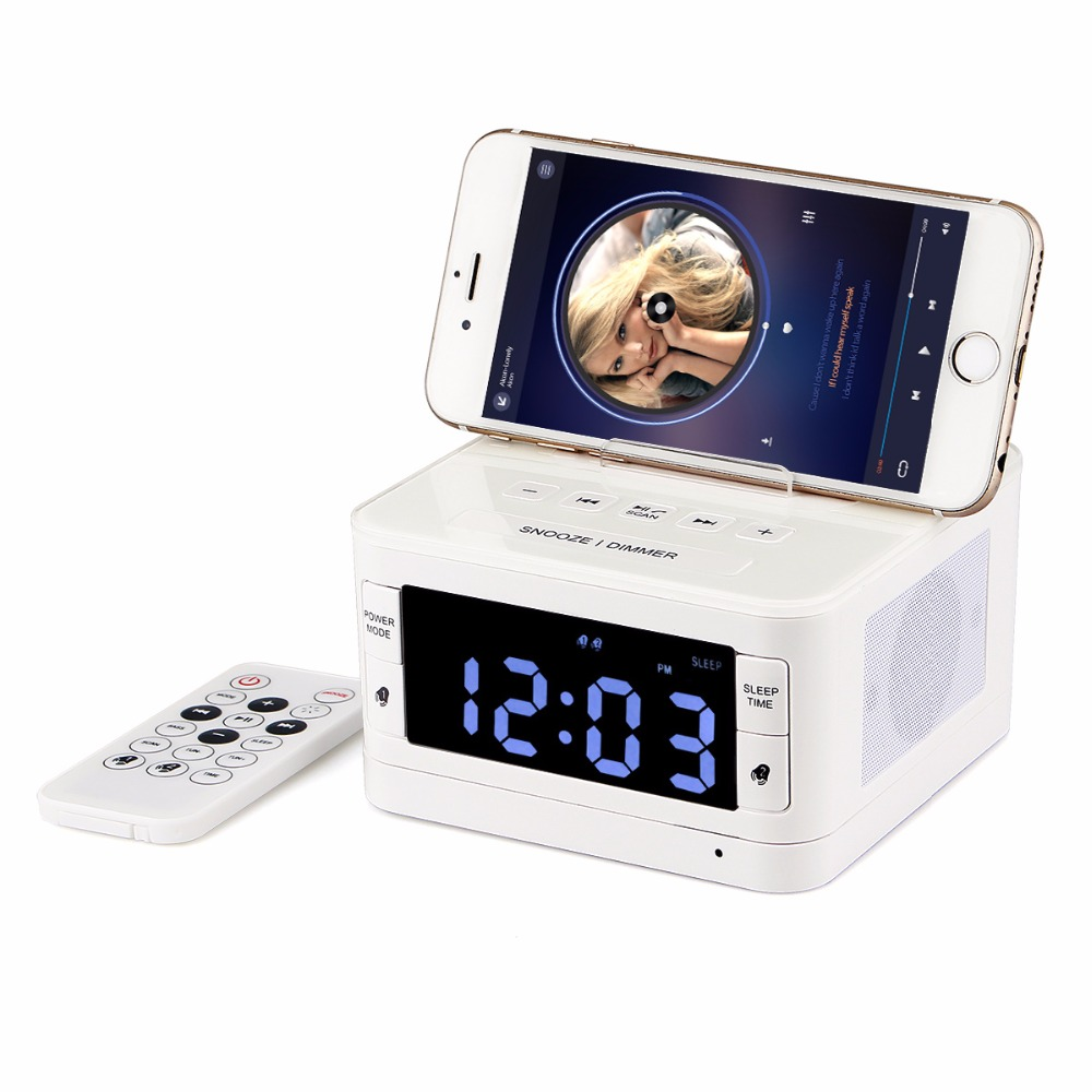 Bluetooth Alarm Clock Radio FM Tabletop Digital Radio Receiver USB Speaker With Sleep Time Remote Control AUX Music Player Y4435 10pcs retekess v115 fm am sw shortwave radio receiver with mp3 player rec voice recorder sleep timer