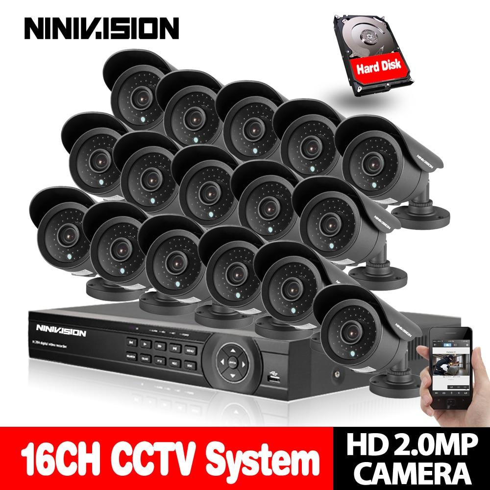 NINIVISION 16CH CCTV Système 1080 p DVR Kit AHD CCTV Vidéo Enregistreur 1920*1080 2.0MP Surveillance Caméra de Sécurité ensemble avec 4 tb HDD