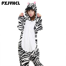 Anime Kigurumi Zebra Onesie Adult Women Sleepwear Costume Animal Bat Pajamas Flannel Winter Warm Loose Soft Cosplay Pyjama