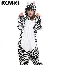 אנימה Kigurumi זברה סרבל תינוקות למבוגרים נשים הלבשת תלבושות בעלי החיים בת פיג מה פלנל חורף חם רופף רך קוספליי Pyjama