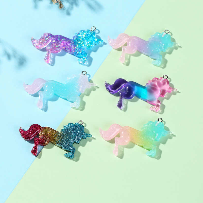 18pcs/lot 48*27mm Flatback resin unicorn charms perfect for pendants,earrings diy  Keychain parts  freeshipping