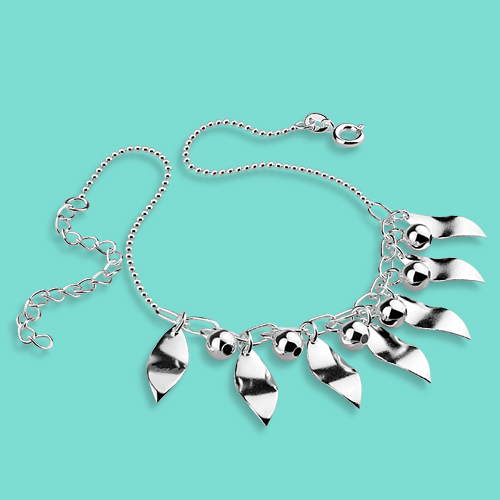 925sterling silver chains for women Fashion silver chains Leaf pendant ms foot ornaments of silver Summer collocation decoration