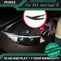 PUIYUE стайлинга Автомобилей Freeshipping 9600Lm Для 2011-2014 Kia Sportage Фары Автомобиля Angel Eyes LED Бровей Дневного Света