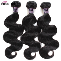 3 Bundles Brazilian Body Wave Bundles Deal Ishow Human Hair Brazilian Hair Weave Bundles Natural Color