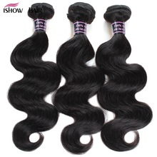 3 Bundles Brazilian Body Wave Bundles Deal Ishow Human Hair Brazilian Hair Weave Bundles Natural Color Non Remy Hair Extension