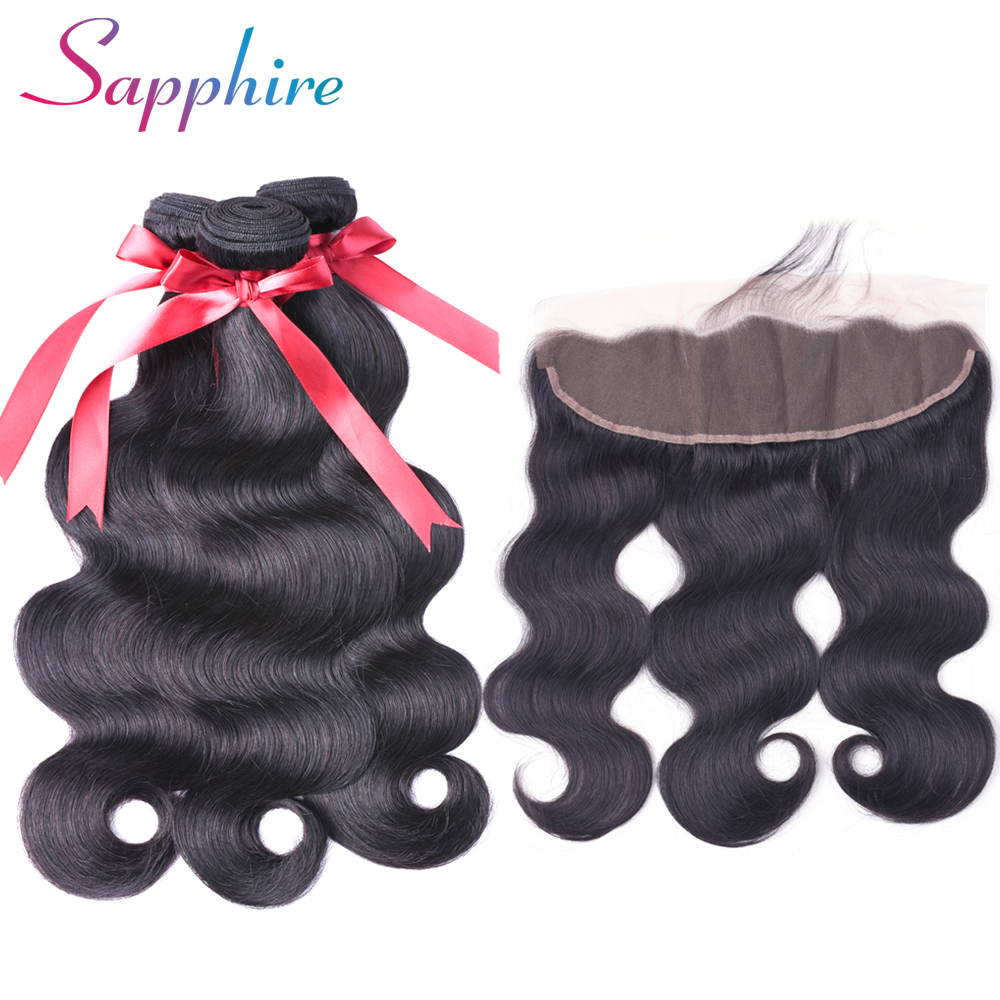 Sapphire Pre-Colored Brazilian Body Wave Natural Color Human Hair Weave Bundles With Closure 13*4 Lace Frontal Tangle Free