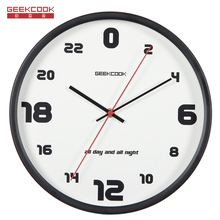Geekcook 24 Hours Metal Wall Clock Modern Design Living Room/Bedroom Mute Wall Watch Home Decor Digital Clock Wall Brief Clocks(China)