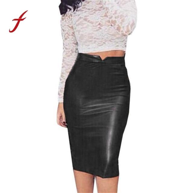 fddc6fe7ad29c Hot Sale Women PU Leather Skirt High Waist Slim Pencil Skirts Vintage  Bodycon Midi Skirt Sexy