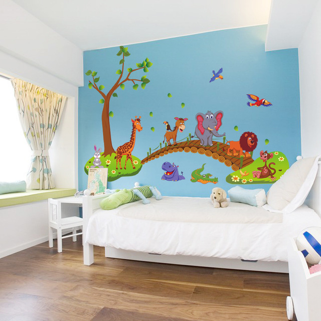 Cartoon Jungle Wild Animal Bridge 60*90cm Wall Area 6