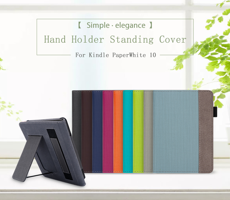 WALNEW Stand Case <font><b>Fits</b></font> Kindle Paperwhite 10th Generation 2018 PU Leather Case Smart Protective Cover with Hand Strap image