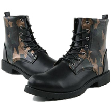 men's leather martin boots shoes 2016 high camouflage male dr martin boots winter warm casual shoes EURO 39-44