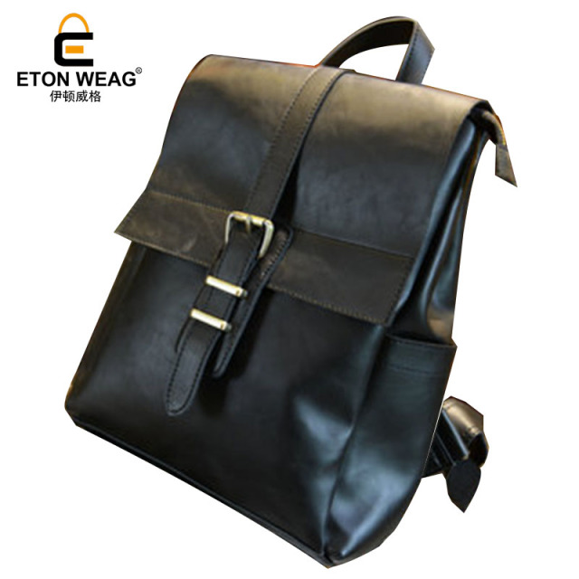 ad1e33c4b6 ETONWEAG 2018 Brands Cow Leather Backpack Women Black Vintage Backpacks For  Teenage Girls Preppy Style Small