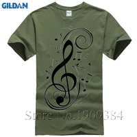COOL Fashion Treble Clef Musical Note Cotton Round Neck Printed Short Sleeves T Shirt Men S
