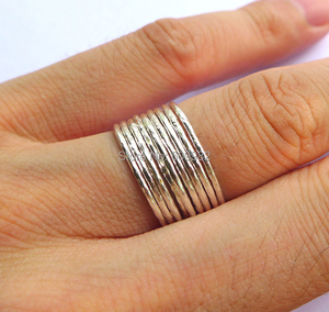 Image 2 - Lotsale 9pieces Solid 925 Sterling Silver Hammered Stacking Ring For Women