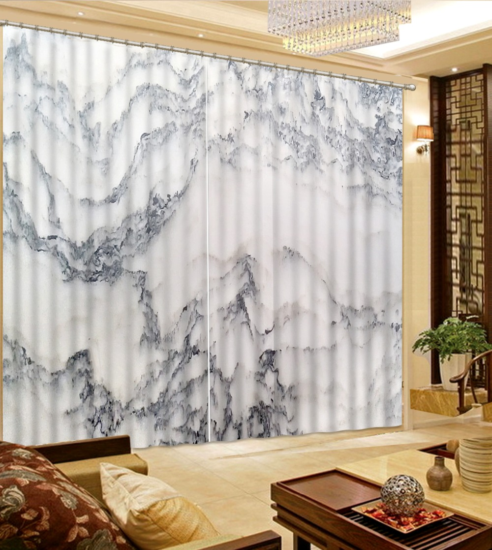 Living Room Curtains Bedroom Marble 3d Stereoscopic Curtains European Style 3D Curtains