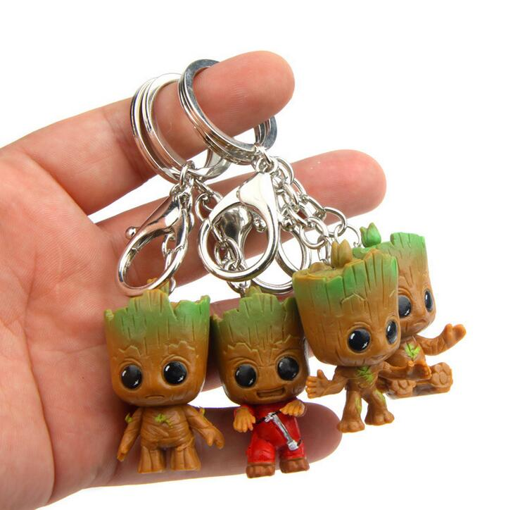 New 4pcs/set Cute Brinquedos Guardians Of The Galaxy Keychain Mini Cute Baby Tree Man Model Action Toy Figures Cartoon Cake Doll