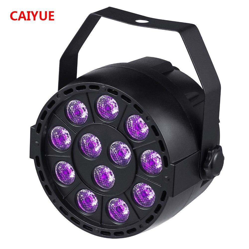 цена на 36W UV LED Stage Light Sound Active 12 LEDs Auto DMX Ultraviolet Strobe Par Black Lights For Disco light DJ Projector Party