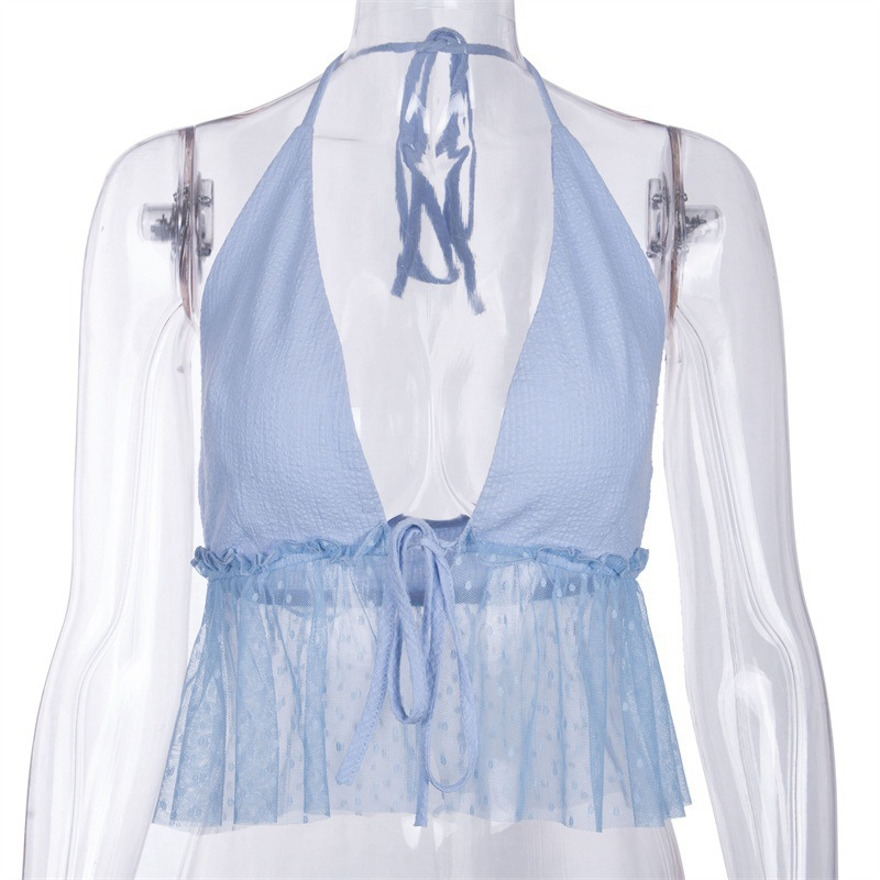 Vrouwen Mouwloze Crop Top Backless Vest Top v-hals Halter Korte Bralette Bustier Mesh Ruches Shirts Voor Meisjes