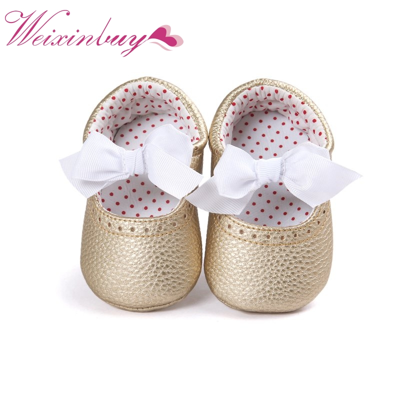 Cute 2017 Newborn Baby Girls Shoes Bow Knot Soft Bottom PU Leather First Walkers Boots