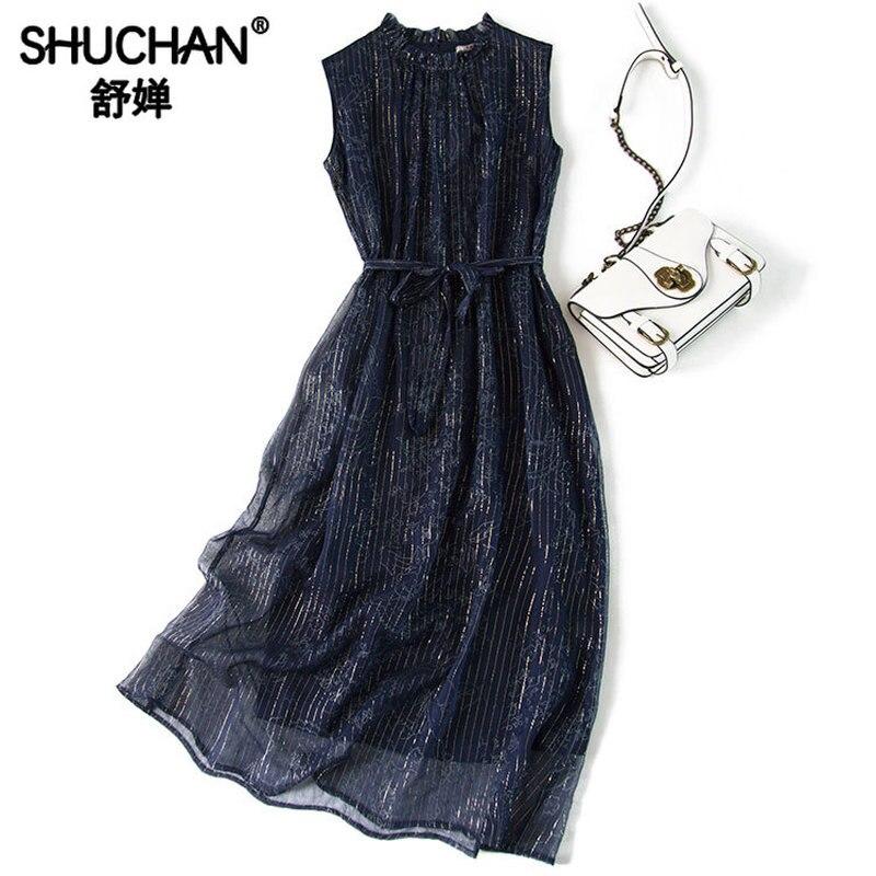 Shuchan 100% robe débardeur en soie naturelle été rayé ceintures droites cheville-longueur longues robes Vestidos casual Moda 2019 A0649