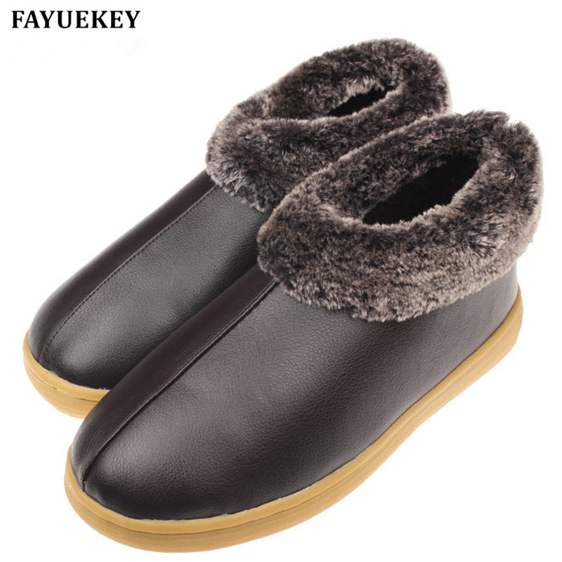 FAYUEKEY New Arrival Winter Fashion PU Leather Home Slippers Men Indoor\ Floor Slippers Warm Cotton Plush Non-slip Flat Shoes
