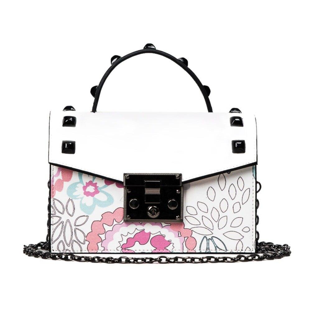 Mojoyce PU Вышивка цветочные заклепки мода цепи Для женщин плеча Сумки через плечо Вечерние сумки клатч Bolsa feminina