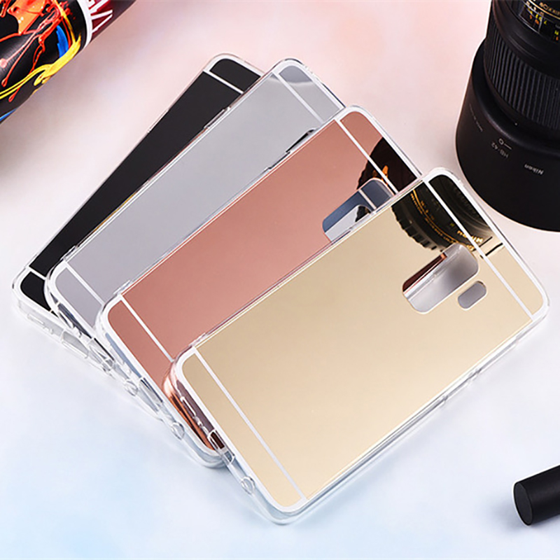 Soft Silicone Case for Samsung Galaxy S9 S8 Plus A8 2018 A3 A5 A7 2017 J3 J5 J7 2016 S7 S6 edge TPU Mirror Case Luxury Cover