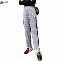 Gray Plaid Elastic Waist Contrast Stripe Pants Women Casual Loose 2018 New Spring Fashion Trousers Female