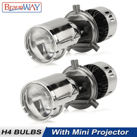 BraveWay CSP Chip H4 Mini LED Projector Hi/lo Beam Car LED Headlight with Lens Automobles LED Bulbs 12V LED Retrofit DIY Kit