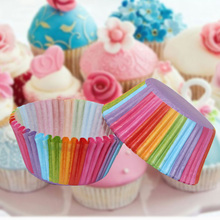 100 Pcs Rainbow Paper Cake Cup Cupcake Muffin Party Tray Bakeware Stands Cases Liners Wedding
