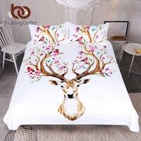 BeddingOutlet Elk Bedding Set Queen Floral Moose Duvet Cover Animal Reindeer Bedspreads For Kids Deer Bedspread
