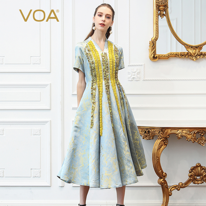 VOA Silk Jacquard Pleated Party Dress Women Plus Size 5XL Long Dresses V Neck Slim Short Sleeve Vintage Ruffles Luxury Fall A335