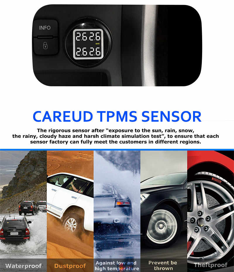 Careud اللاسلكية مراقبة ضغط الإطارات نظام TPMS مع 4 الخارجية Sensors6.4