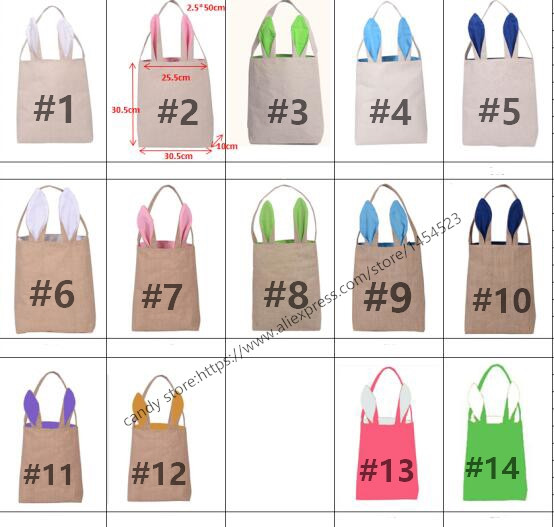 200pcs wholesale easter bunny gifts bag diy rabbit ears burlap jute 200pcs wholesale easter bunny gifts bag diy rabbit ears burlap jute basket blank bags for kids mix 14 color party decoration in party favors from home negle