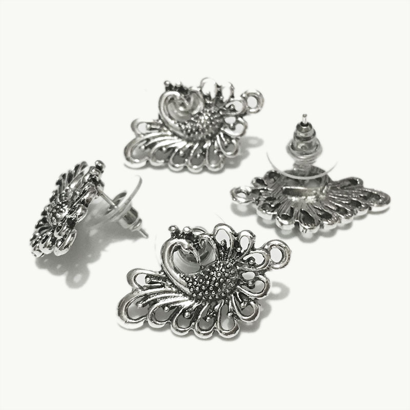 BEAUCHAMP 10pcs(5pair) Earrings studs Findings Wback Stopper Bohemian Jewelry blank base setting Elegant Loops Accessories Kit