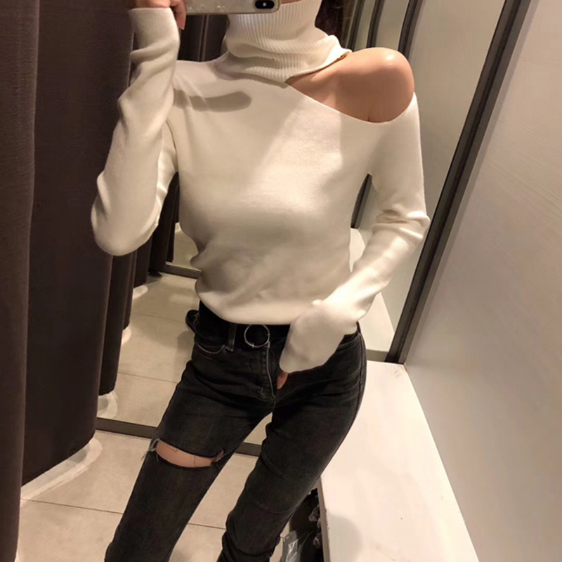 Knitted Sweater Off Shoulder Pullovers Sweater for Women Long Sleeve Turtleneck Female Jumper Black White Gray