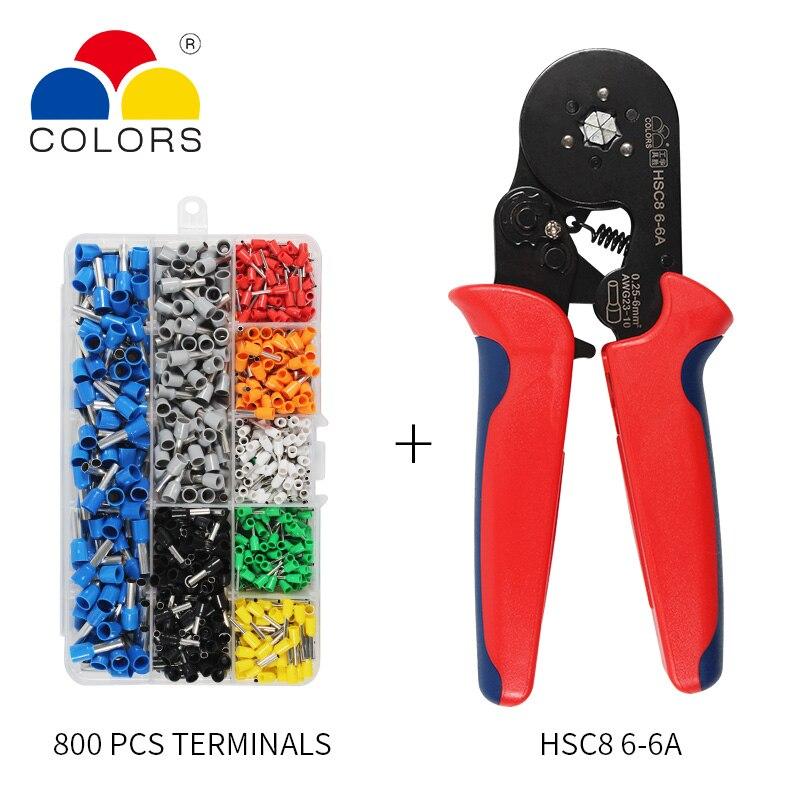 כלים יד כלים עצמי מתכוונן Crimping Plier + Crimping מסוף מגדיר מסופי Tube בכבלי חוט AWG23-10 Crimping פלייר יד Multi (3)