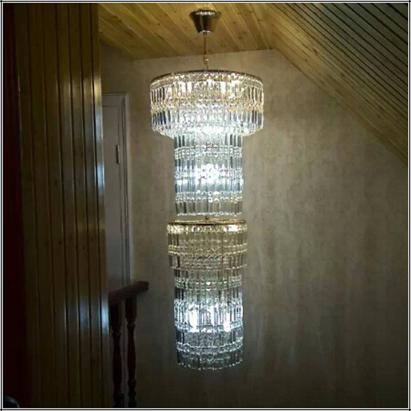 elegant modern long stair chandelier crystal lighting K9 crystal lamp gold chandelier crystal lamp fashion lighting Continental