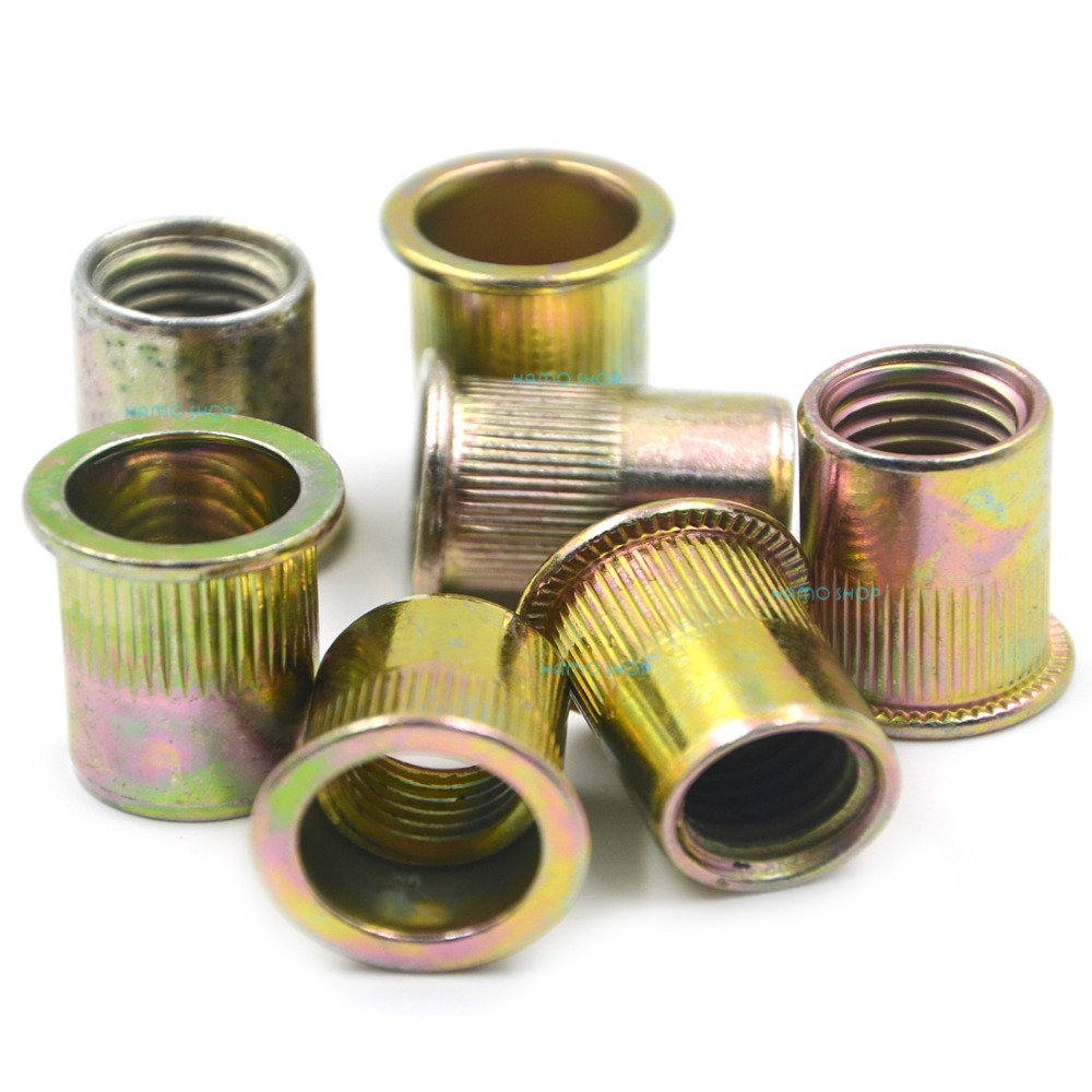 цена на 10pcs M12 Rivet Nut Flat Head Threaded Multi Blind Rivnut Insert Nutsert Steel