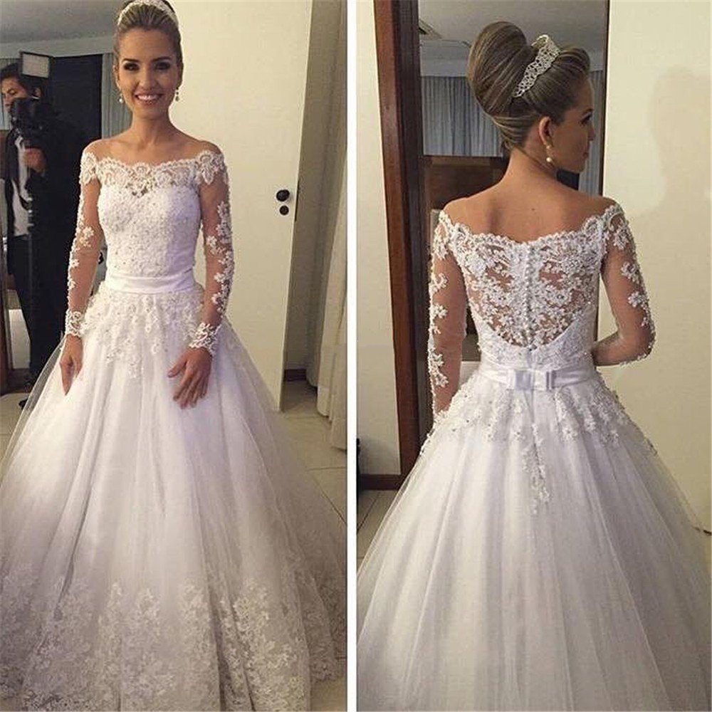Boat Neck Long Sleeve Wedding Dress Plus Size Lace Gowns Sequins Beads Pearls Vestidos De Novias Bride In Dresses From