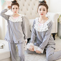 Maternity Nursing Pajamas Clothes Sets Spring Autumn Cotton Pattern Leisure Sleep Wear Pregnant Women Breastfeed Tops Pants Set