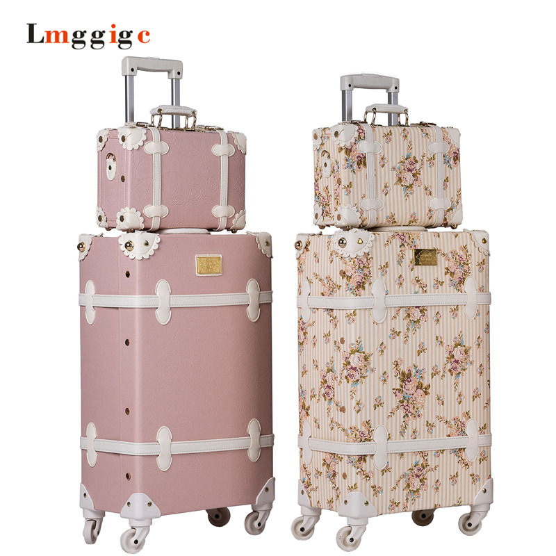 Vintage Luggage bag,PU Leather Suitcase Travel box,Women universal wheel Carrier,high qualit Carry-Ons 20222426inch Trolley luggage 2pcs set 14 inch and 20 22 24 26 inch box rolling suitcase universal wheel travel box password girl luggage bags trunk