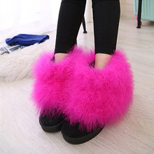 2016 Women Winter Boots Round Toe Short Suede Feather Furry Fur Flat Heel Boots Ultralarge Scrub Boots Size 5-9 Hot pink