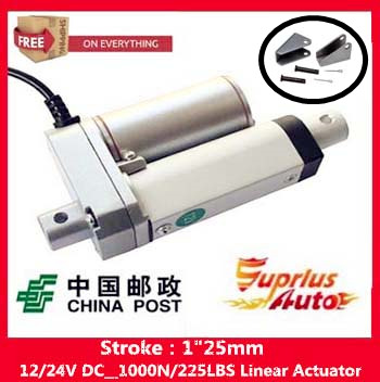 Free Shipping electric linear actuator with new stent, 1/25mm Stroke 12/ 24v electric linear actuator.100KGS/1000N/225LBS