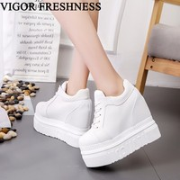VIGOR FRESHNESS Shoes Woman Vulcanize Shoes Canvas Women High Platform Spring Ladies Casual White Sneakers Autumn Shoes WY52