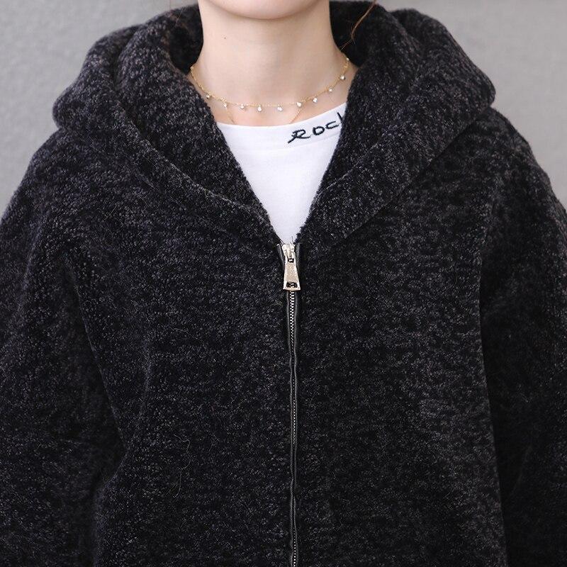 Capuche 7xl Mouton Grande Taille 5xl De Zipper Veste Peau Femmes Black En Fourrure Nerazzurri À 2019 Manteaux Bomber Vraie Hiver 6xl nOZYYCz